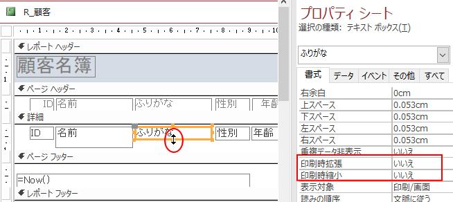 レポートのデザインビュー