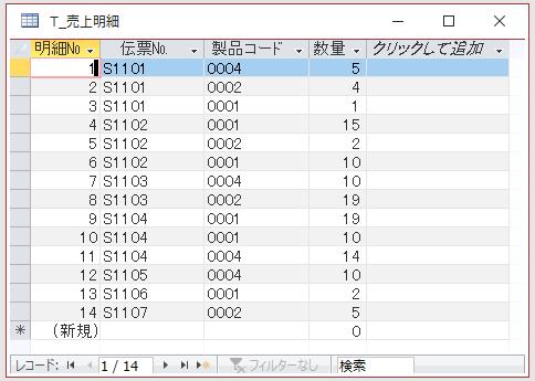 テーブル[T_売上明細]のデータシートビュー