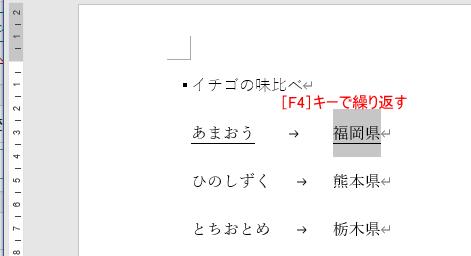 [F4]キーで下線を設定