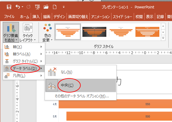 [グラフ要素を追加]の[データラベル]