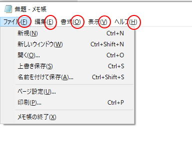 メモ帳の下線が表示されたアクセスキー