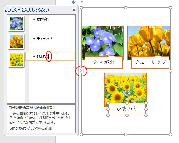 テキストウィンドウを表示してスマートアートの画像を追加
