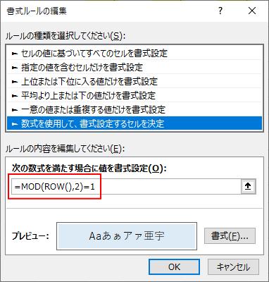 条件付き書式の設定内容[書式ルールの編集]ダイアログボックス