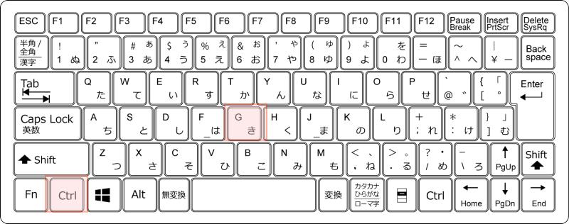 キーボード Ctrl + G