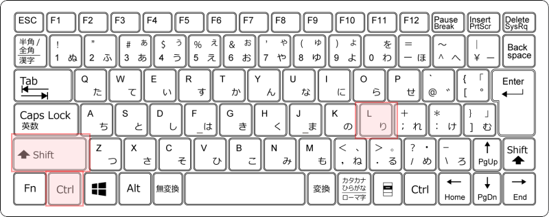 キーボード フィルター Ctrl+Shift+L