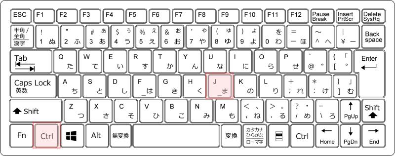 キーボードCtrl+J