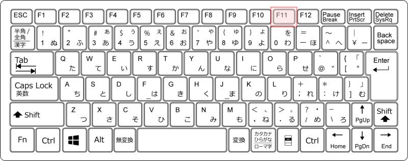 キーボード[F11]キー