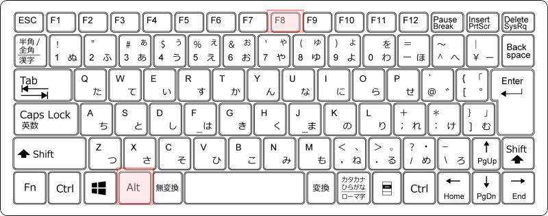 キーボード[Alt]+[F8]