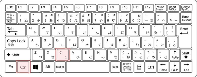 キーボード[Ctrl]+[C]