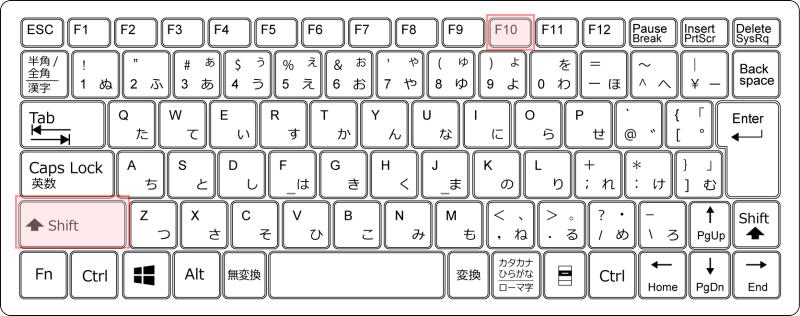 キーボード[Shift]キーと[F10]キー