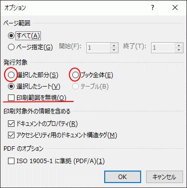 Excelのオプション[発行対象]