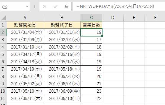 NETWORKDAYS関数の完成表