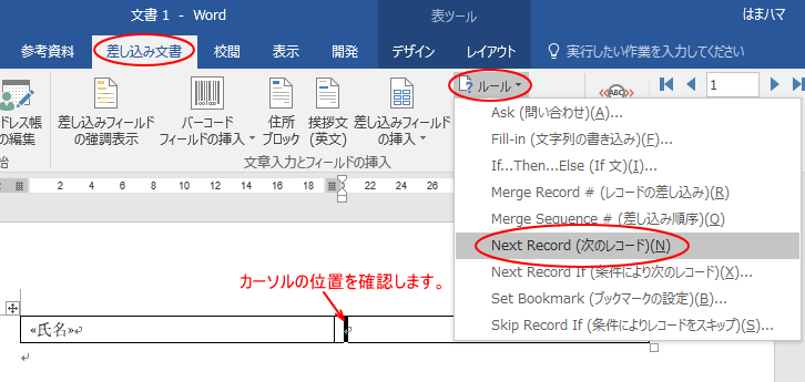 [Next Record(次のレコード)]の挿入
