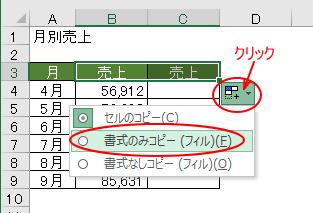 オートフィルオプションの書式のみコピーをクリック