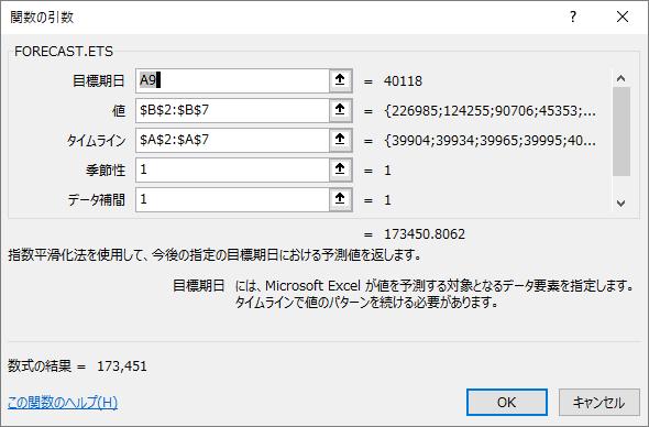 関数の引数[FORECAST.ETS]関数