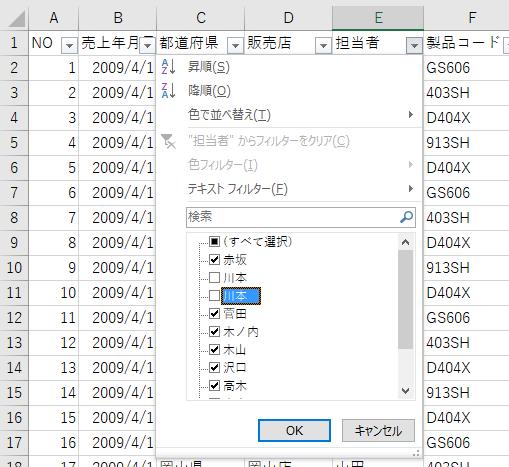 フィルター機能を使ってデータをチェック