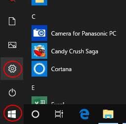Windows10の設定ボタン