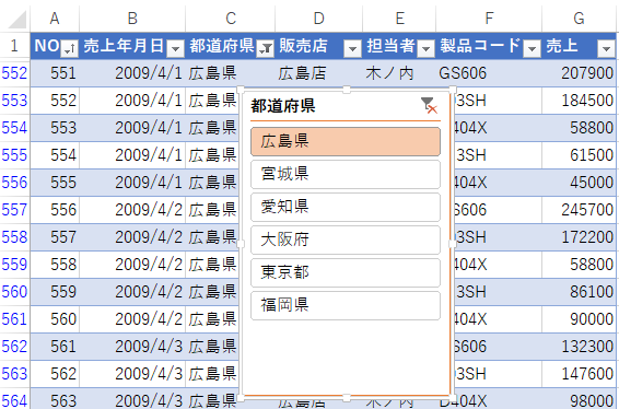 Excel2013のスライサー