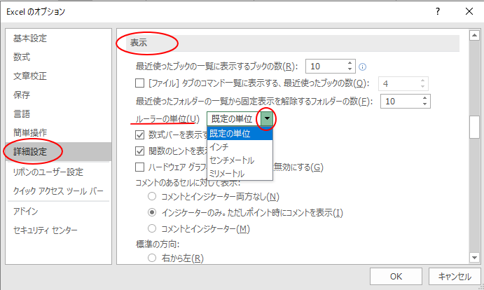 Excelのオプション 詳細設定